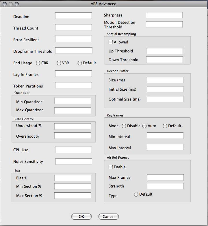 WebM QuickTimePro Settings