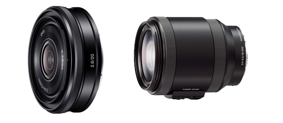 Sony E Mount 20mm pancake et 18-200 stab