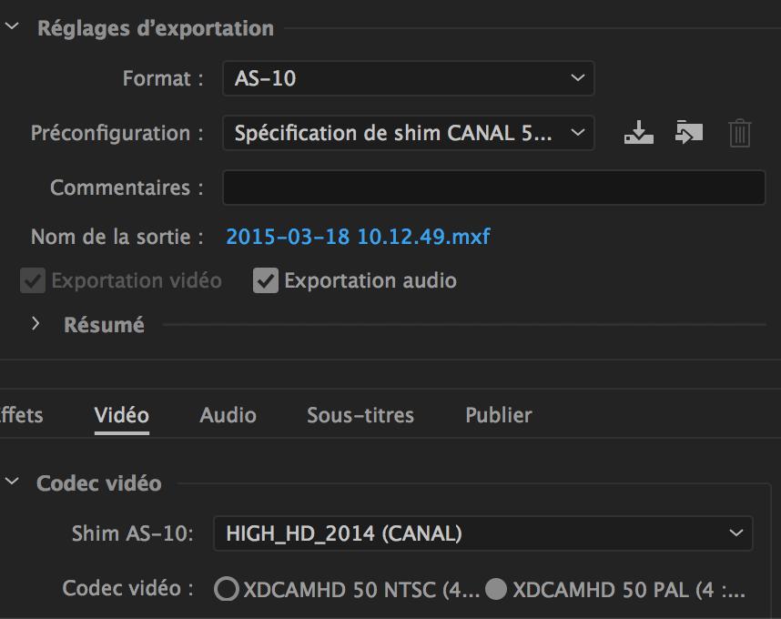 AS 10 sur Adobe Media Encoder